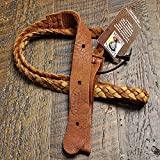 Lakota Leathers Mandolin Strap Flat Braid 43 Inch Tan and Tobacco