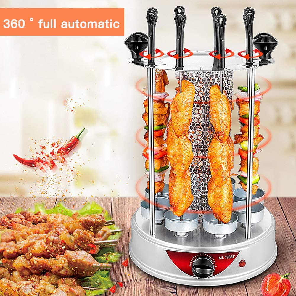 Party ML1306 for Household Smoke Free Electric Grill Indoor Barbecue Timing BBQ Grill Machine Vertical Automatic Rotating Rotisserie Grill Spiral Skewers Easy to Clean