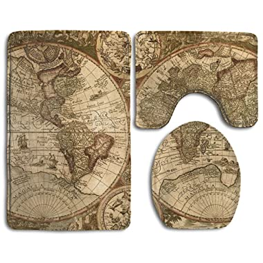 JEFFERYjSPARKS Flannel Bathroom Rug Set,Bath Mat,Shower Mat And Toilet Cover,Non Slip And Extra Soft Toilet Kit,Anti Slippery Rug,3 Piece-Old World Map Globe