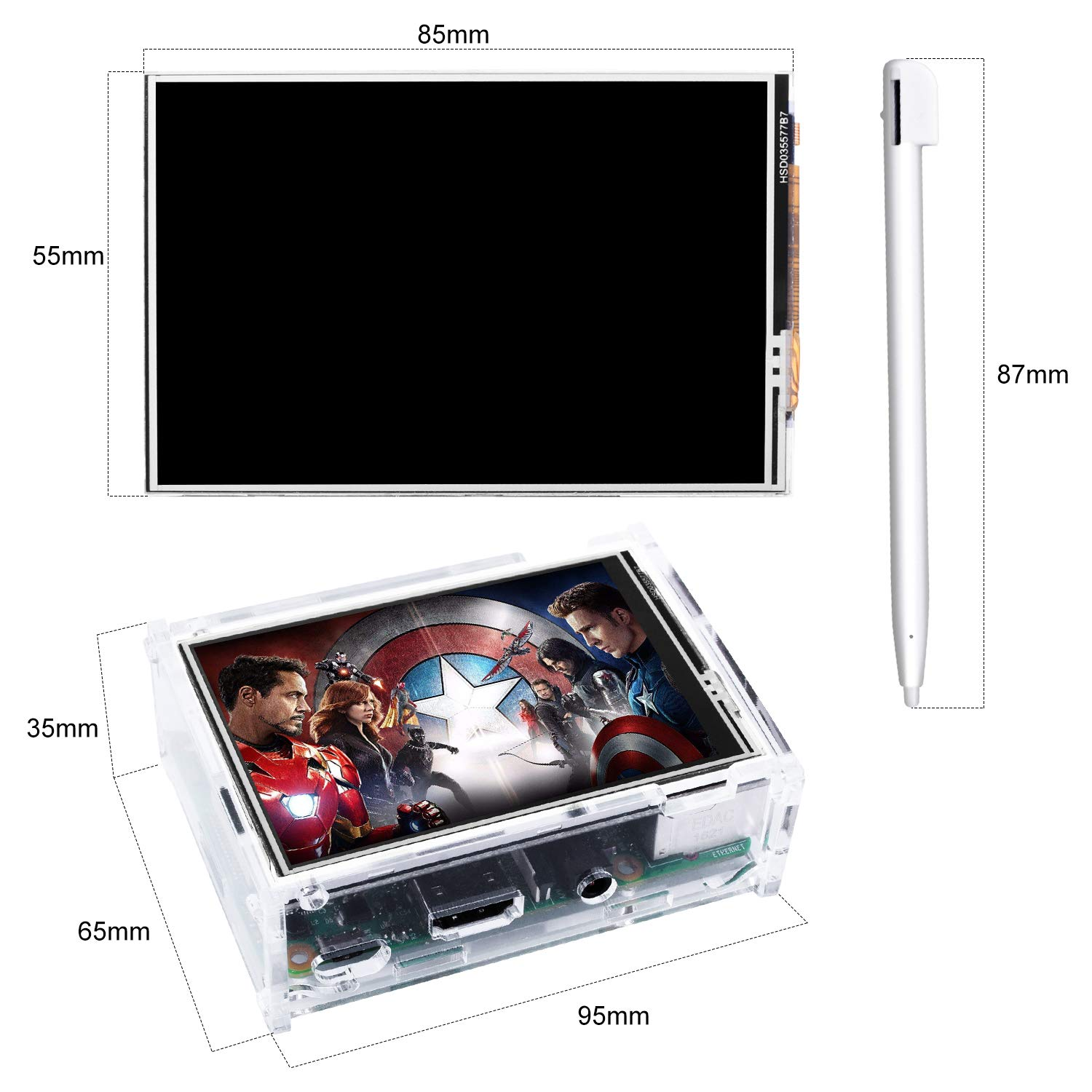 Kuman 3.5 Inch Touch Screen TFT Monitor LCD Dsiplay with Protective Case 320x480 Resolution TFT LCD Display for Raspberry Pi 3B+,3B,2B,B Pantalla T/áctil SC107