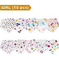 Labebe Bavaglini Neonati Unisex di 0-36 Mesi, un Pacchetto di 10-Pezzi di Diversi Colori e Diversi Modelli di Cartoni Animati, Buon Regalo per Genitori e Figli