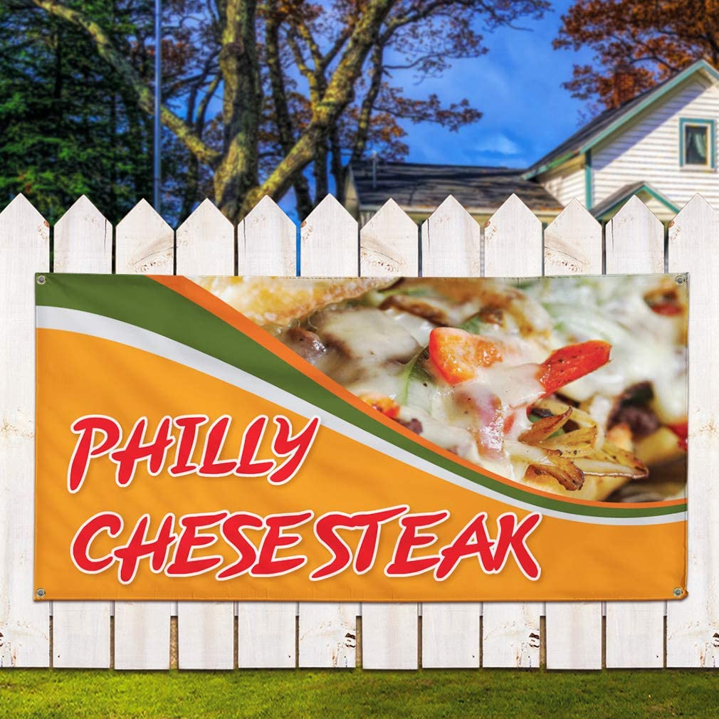 Multiple Sizes Available Set of 2 28inx70in Vinyl Banner Sign BBQ Sandwich #1 Style A Business Outdoor Marketing Advertising Pink 4 Grommets