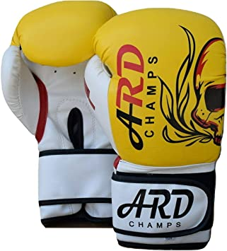 Yellow ARD-Champs Boxing Gloves Art Leather Punch Training Sparring Kickboxing MMA Fighting
