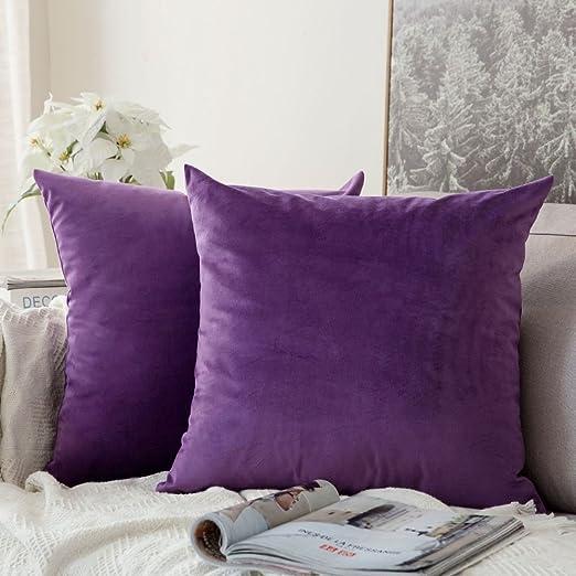 MIULEE Pack de 2, Terciopelo Suave Juego de Mesa de Manta de decoración Cuadrado Fundas de Almohada Funda de cojín para sofá Dormitorio Coche 18 x 18 Pulgada 45 x 45 cm Púrpura: Amazon.es: Hogar