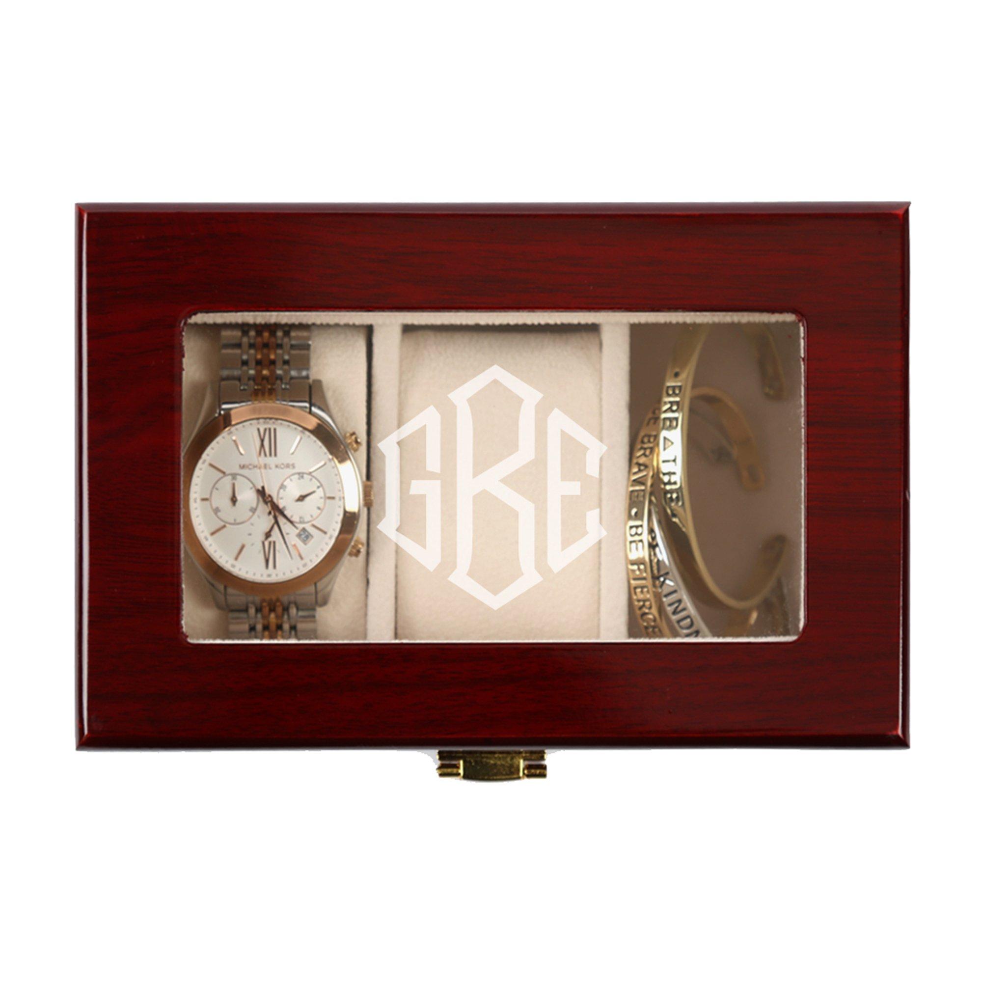 Monogram Professional 3 Slot Cherry Finish Wood Watch Organizer Case 6.25'' W. x 4.25'' H. x 3'' D