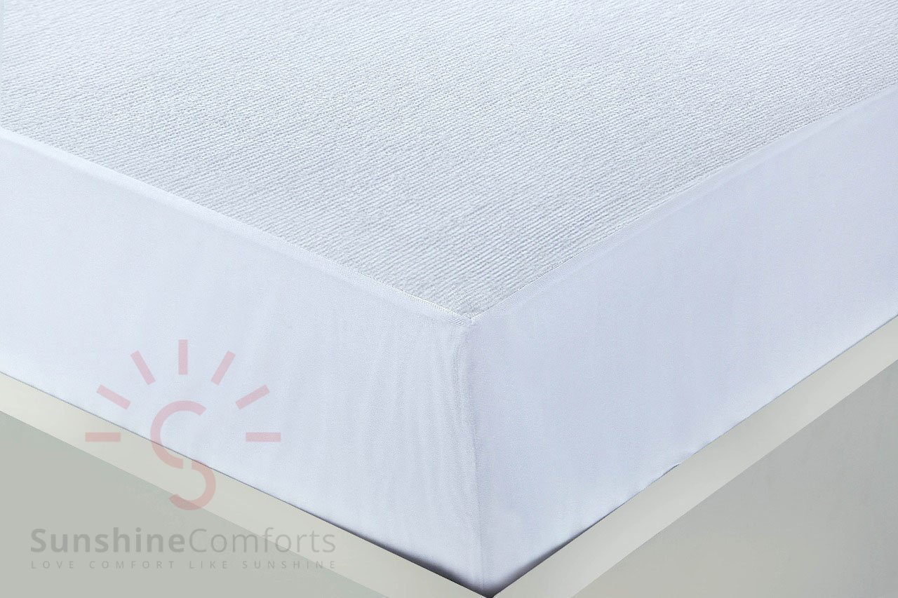 WATERPROOF SUPER ABSORBENT STAIN PROOF NON-ALLERGENIC /& NON-NOISY 100/% COTTON BY SUNSHINE COMFORTS/® COT BED SIZE 140CM X 70CM TERRY TOWELLING MATTRESS PROTECTORS