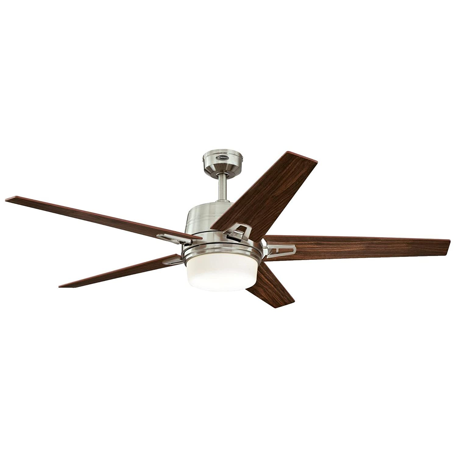 Westinghouse Lighting 7204600, Remote Control Included Zephyr 56-inch Brushed Nickel Indoor Ceiling Fan, Dimmable LED Light Kit with Opal Frosted Glass,