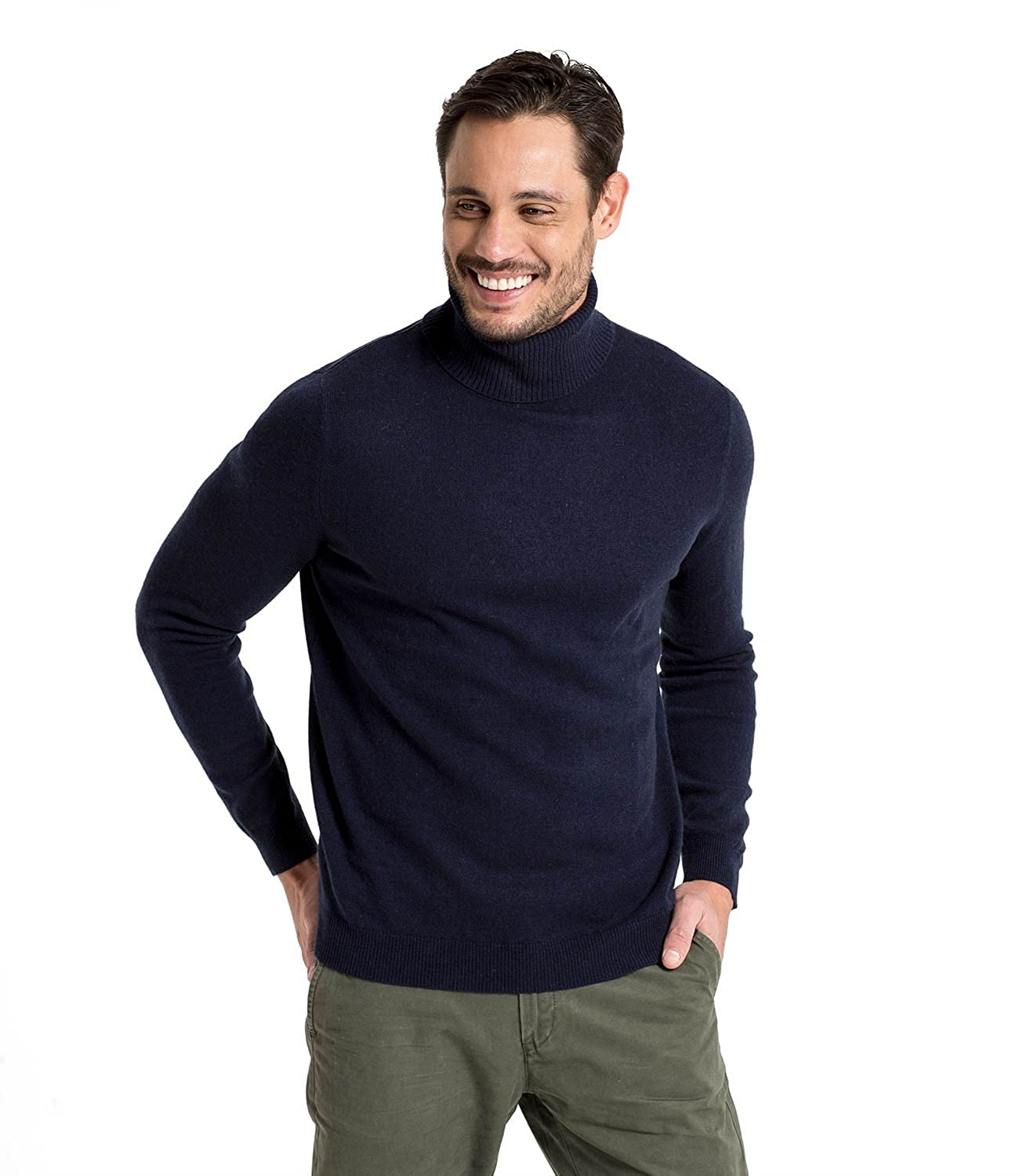 Mens Cashmere Merino Roll Neck Long Sleeve Top Fine Knit Polo Neck Knitted Sweater