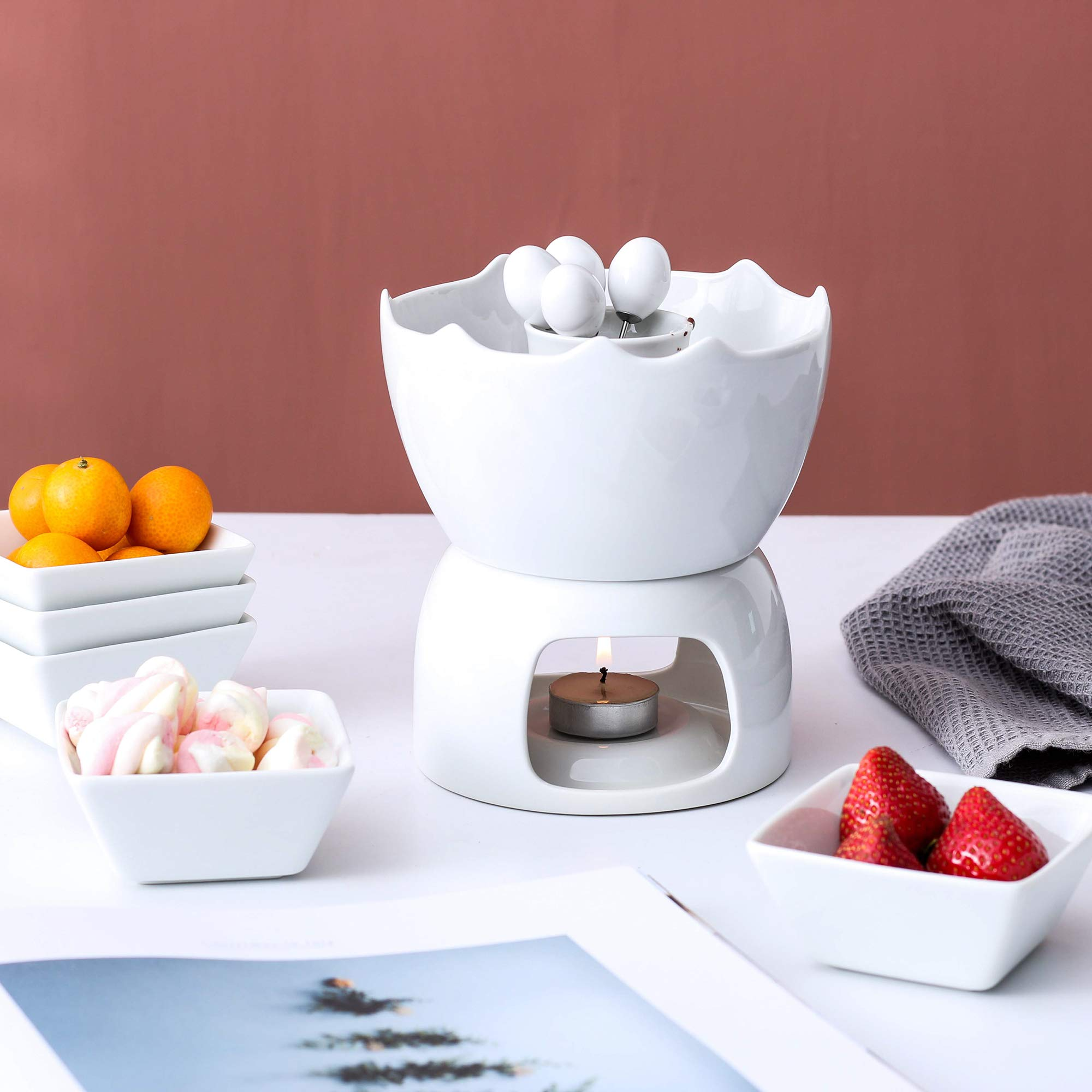Malacasa Fondue Pot Set Two-layer Porcelain Tealight Chocolate Fondue with Dipping Bowls and Forks for 6, Cheese Fondue or Butter Fondue Set, White by Malacasa (Image #10)
