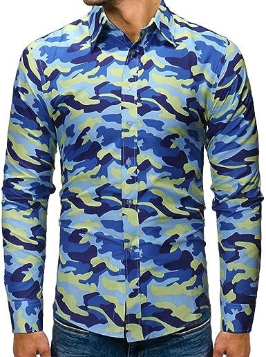 Yvelands Liquidación de Camisas para Hombres, Camisa de Manga Larga de Camuflaje otoñal e Invernal Hombres Blusas: Amazon.es: Ropa y accesorios