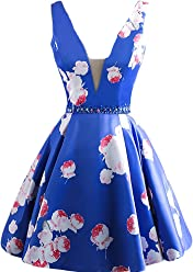 04439805e2 BessDress V Neck Floral Print Short Homecoming Dresses 2018 Satin Beaded  Party BD305