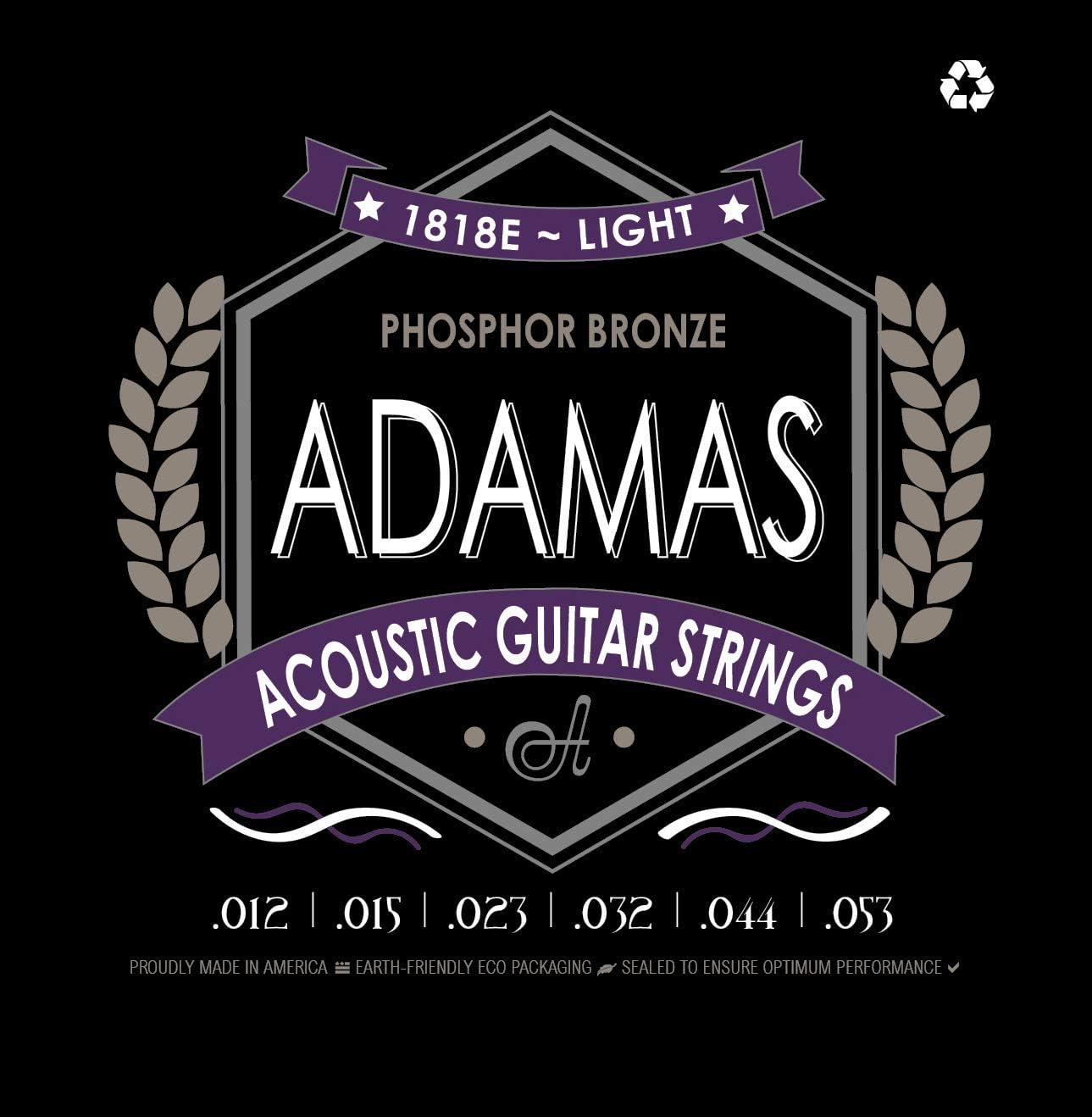 Adamas fósforo bronce Guitarra acústica cuerdas Light .012-.053