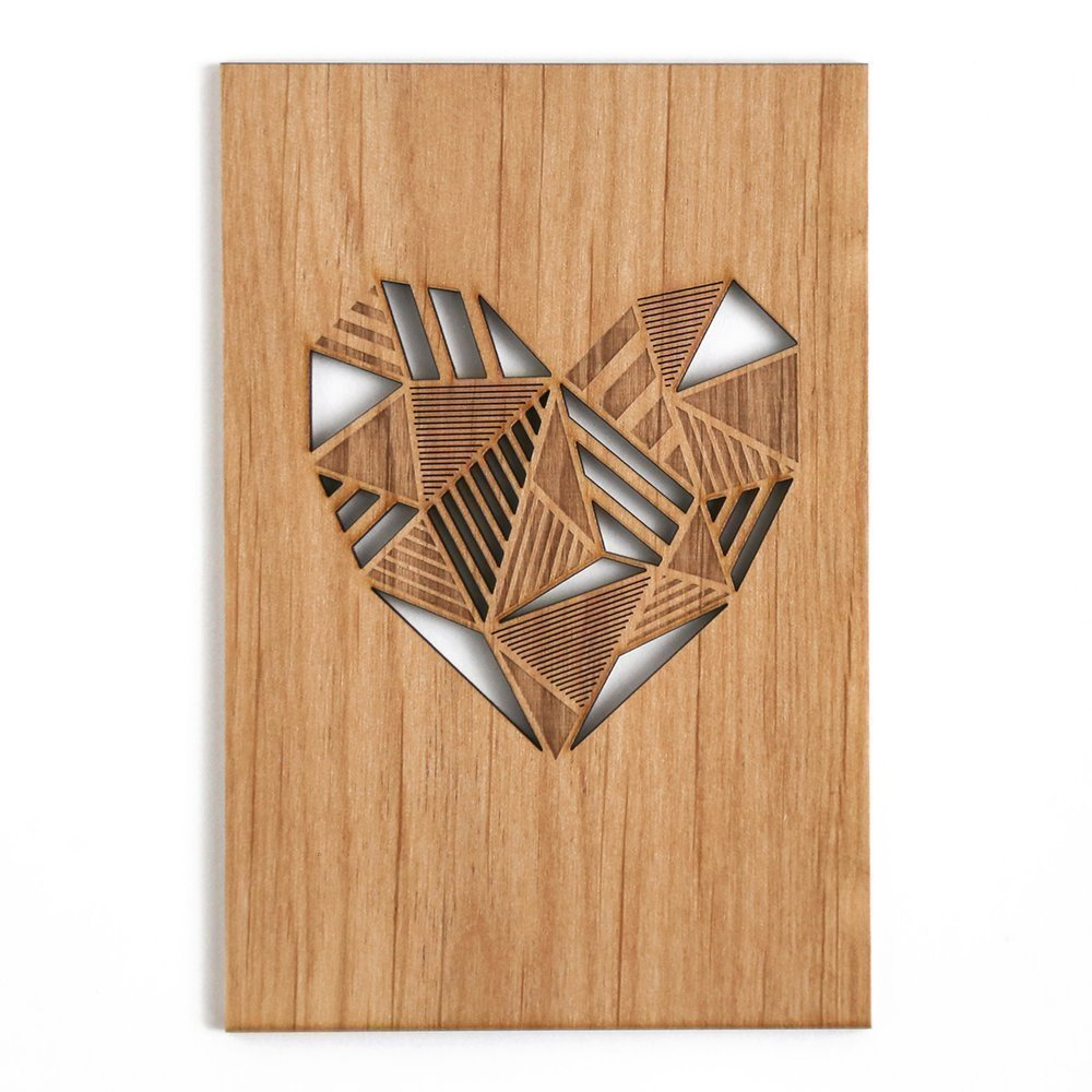 Patchwork Heart Laser Cut Wood Card (Love / 5 Year Anniversary / Boyfriend or Girlfriend / Mother's Day / Valentine's Day)