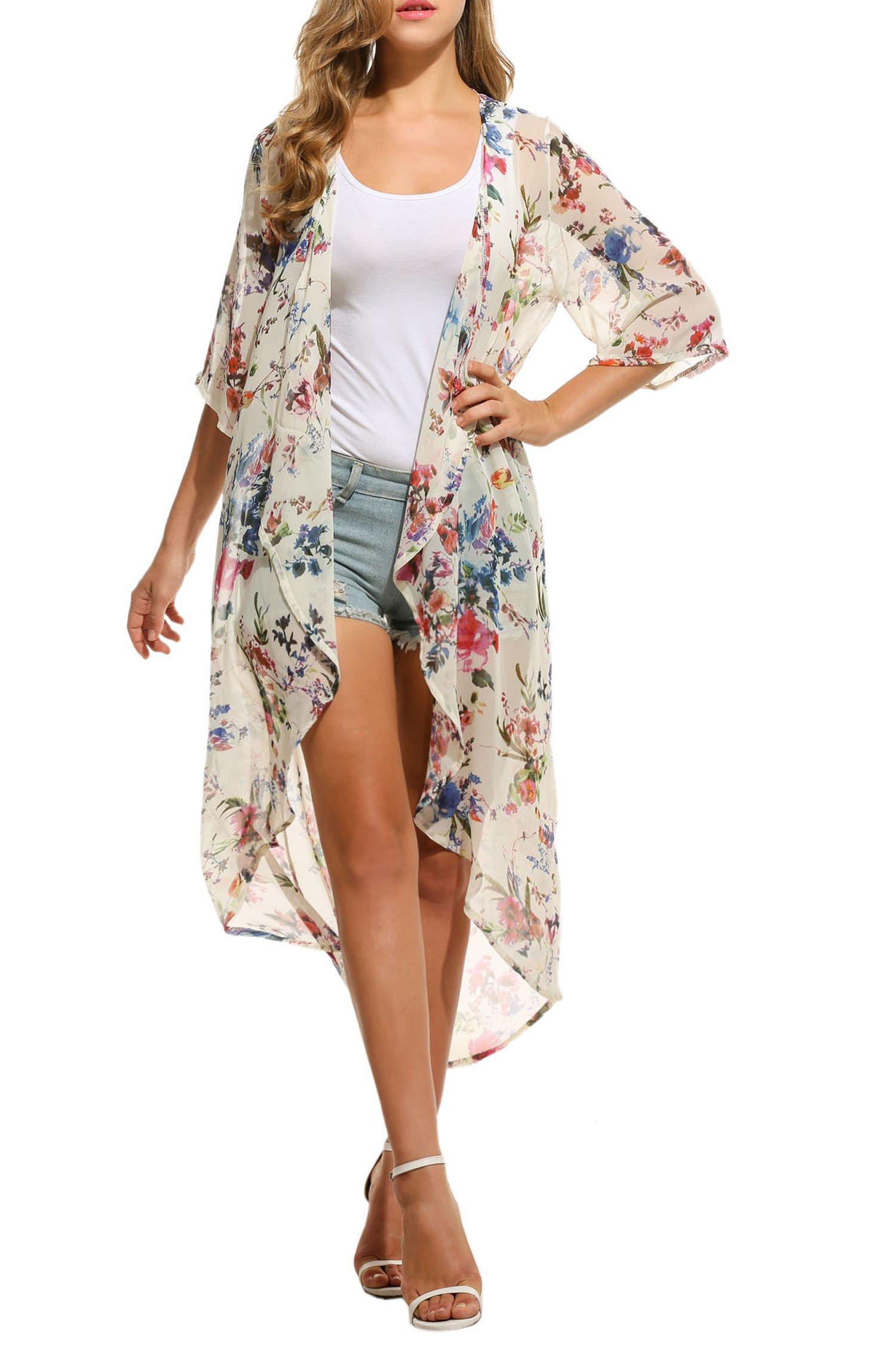 Ekouaer Women's Chiffon Cardigan 3 4 Sleeves Kimono Beach Bikini High Low Long Floral Cover up