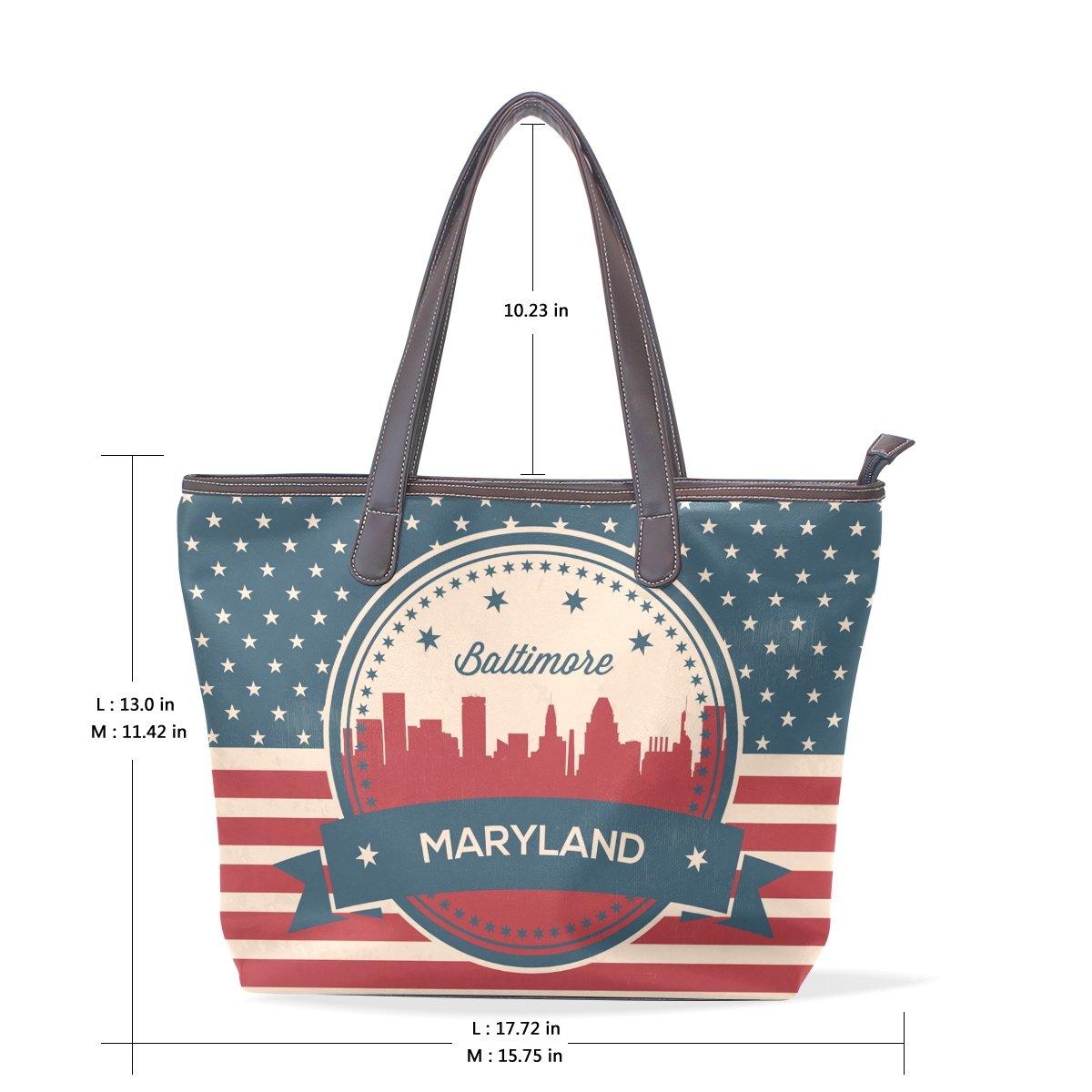 Vintage American Flag Maryland State Baltimore Skyline Womens Fashion Large Tote Ladies Handbag Shoulder Bag