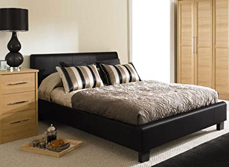 bed carla leather frame black