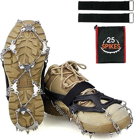 Ykall Crampons Tacos de hielo Tracción de nieve Grips para botas zapatos mujeres hombres niños antideslizante 25 puntos de acero inoxidable seguro ...