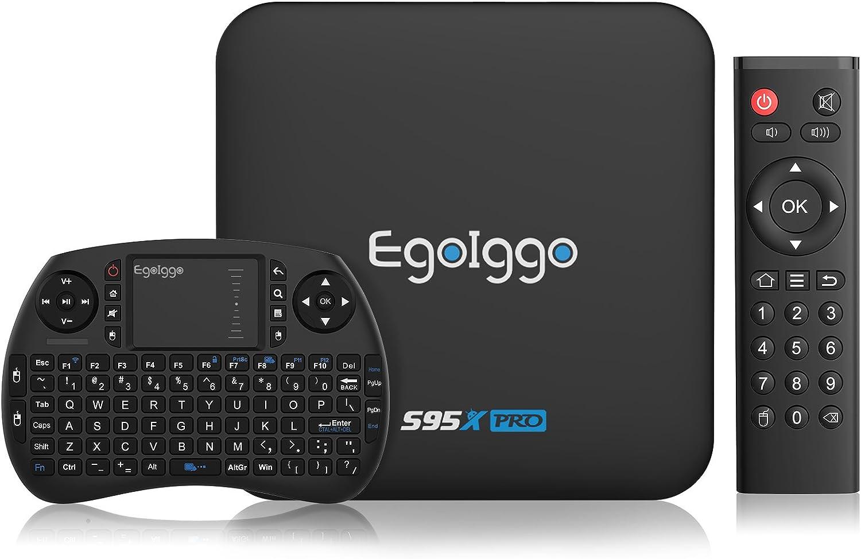 Android TV Box EgoIggo S95X Pro con Mini Teclado Inalámbrico 2GB RAM + 16GB ROM Android 6.0 2.4G WiFi 4K 2K H.265 por Hardware HDMI Smart TV Box: Amazon.es: Electrónica