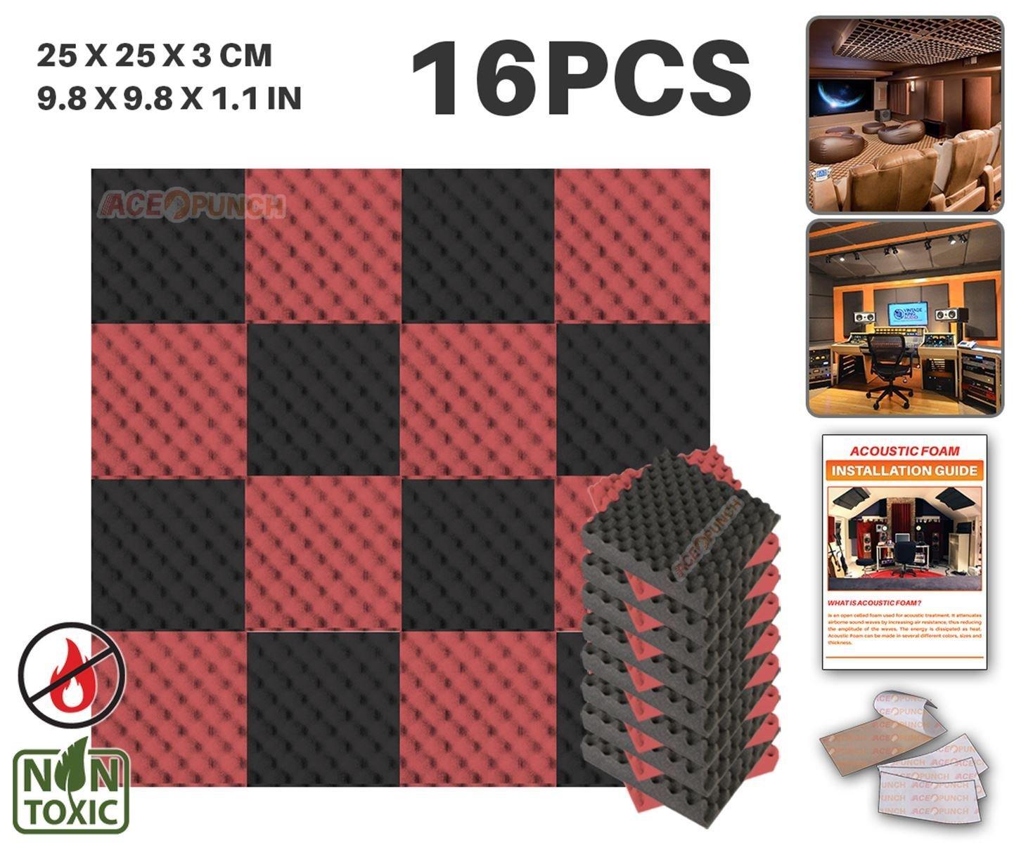 Ace Punch 16 Paquete 2 Colores NEGRO Y AZUL Espuma de Combinación Caja de Huevos Acústica Panel Para Aislamiento Acústico de Sonido de Tratamiento de Amortiguadores con Cinta de 25 x 25 x 3 cm AP1052