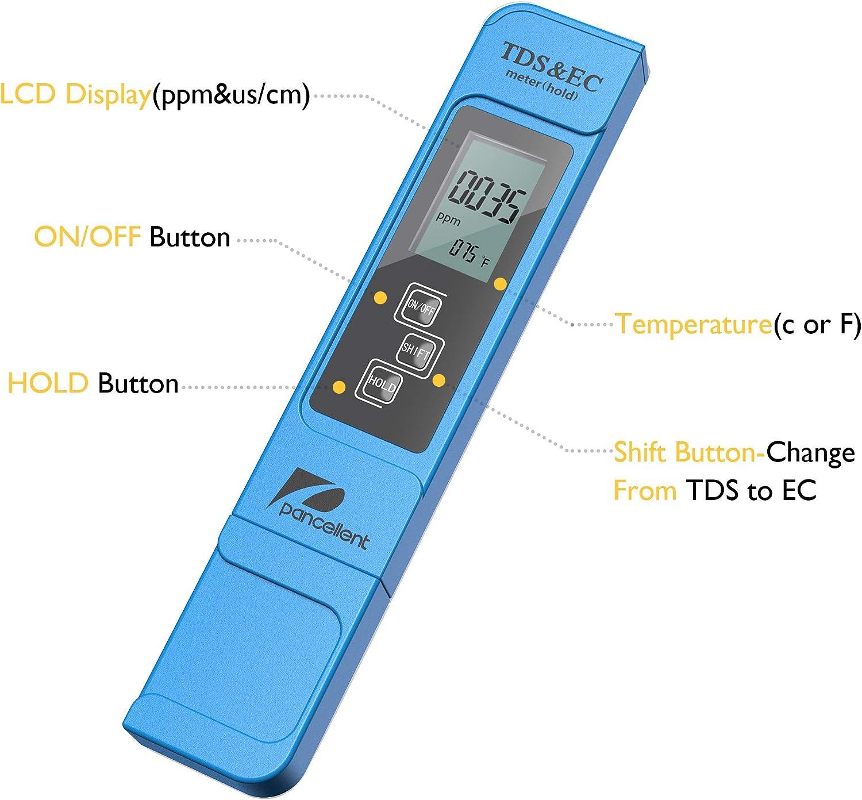 Lasamot 3 in 1 TDS EC Test della qualit/à dellAcqua Misuratore di Temperatura Display Digitale per Acqua Potabile Acquari Piscina Spa