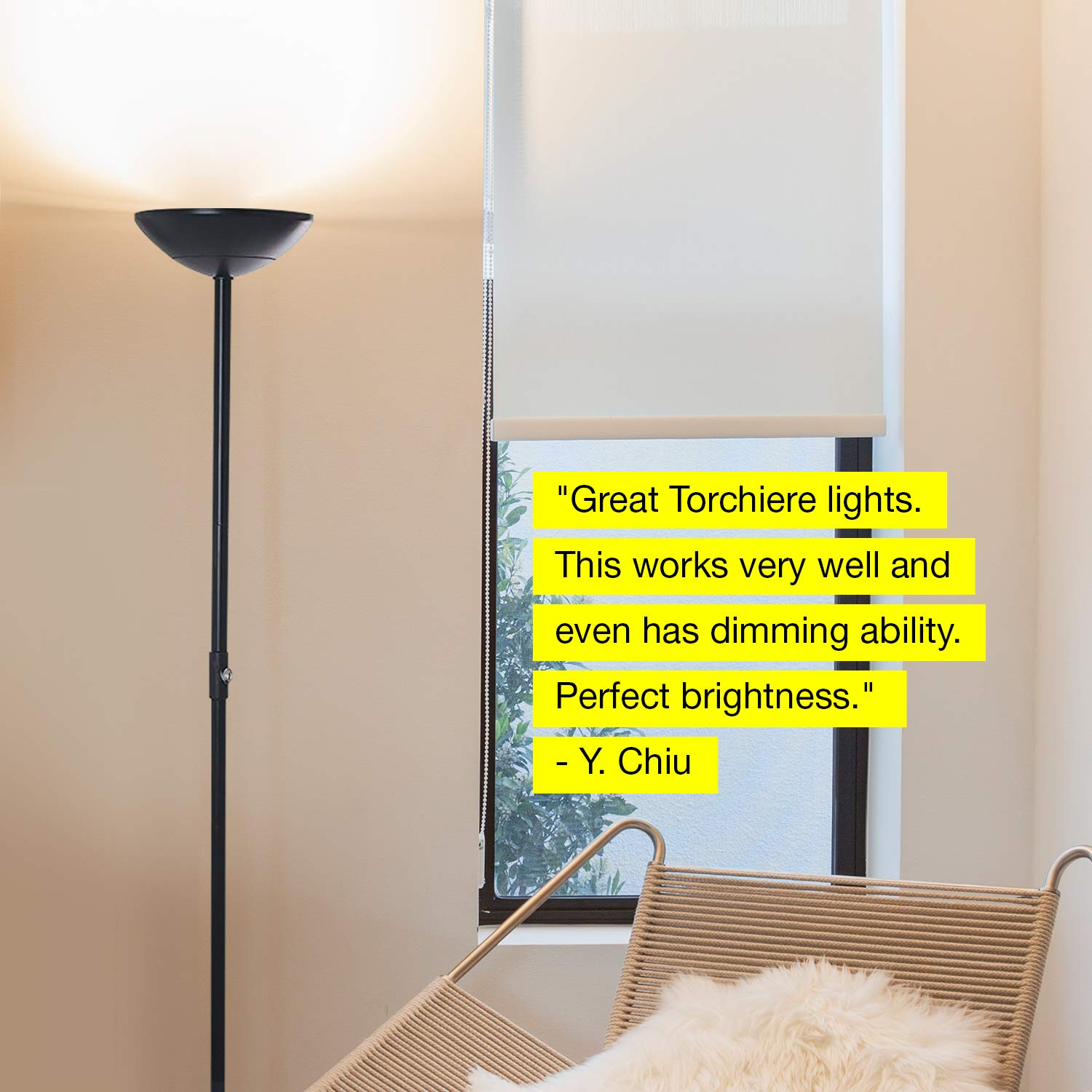 Brightech SkyLite - Bright LED Torchiere Floor Lamp for Offices - Modern, Dimmable Reading Light for Living Rooms & Bedrooms - Tall Standing Pole Light - Jet Black by Brightech (Image #10)