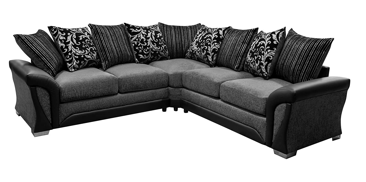 Sharon Corner Sofa Grey and Black Fabric Chenille Leather