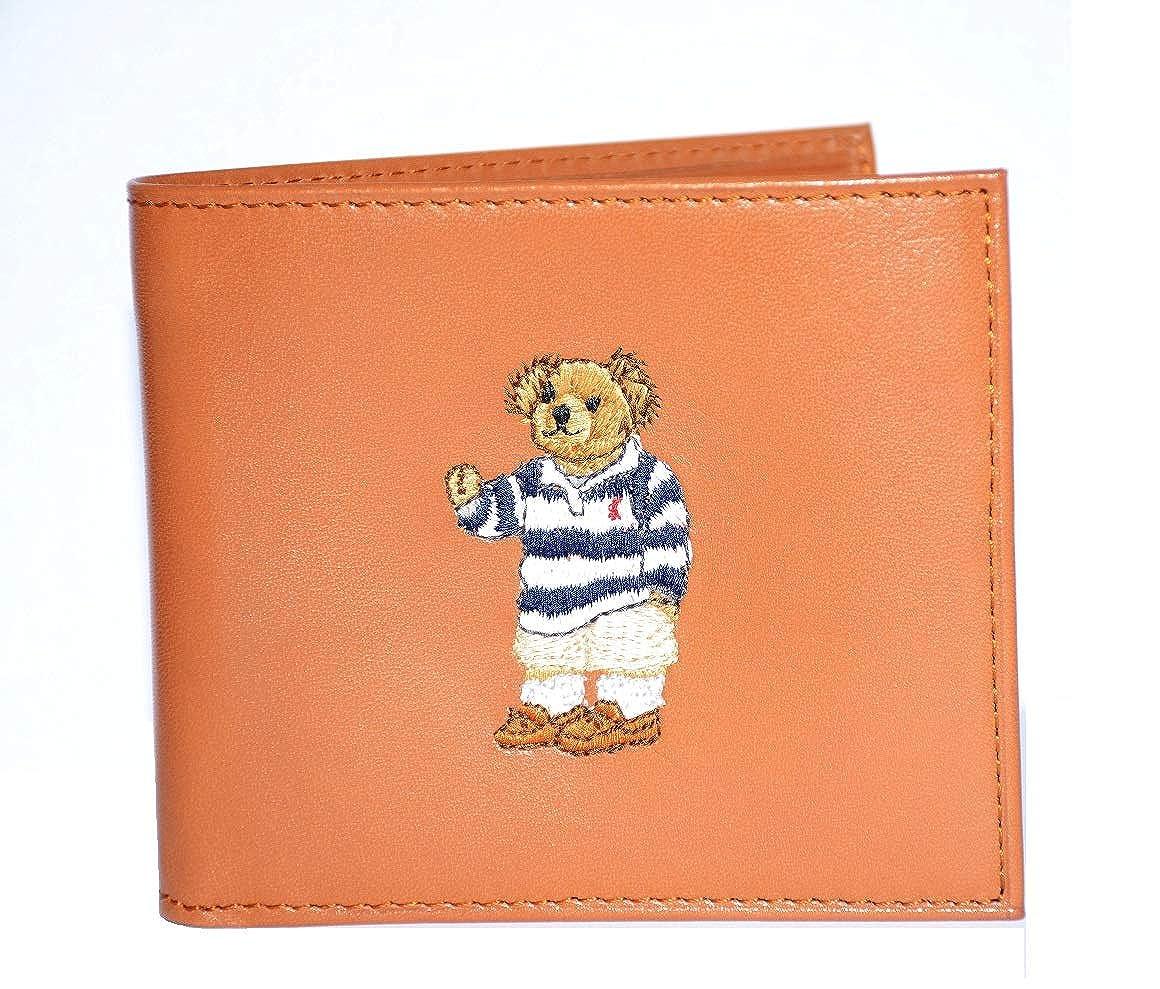 c6a3f1fd377 Polo Ralph Lauren Men's Wallet Lambskin Bifold Brown Bear at Amazon Men's  Clothing store: