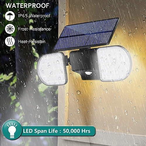 Bebrant Solar Lights Outdoor, 56 LED Motion Sensor Security Lights IP65 Waterproof Solar Flood Lights 360 Adjustable Double-Head Spotlights for Front Door Garden Yard Patio 2 Pack