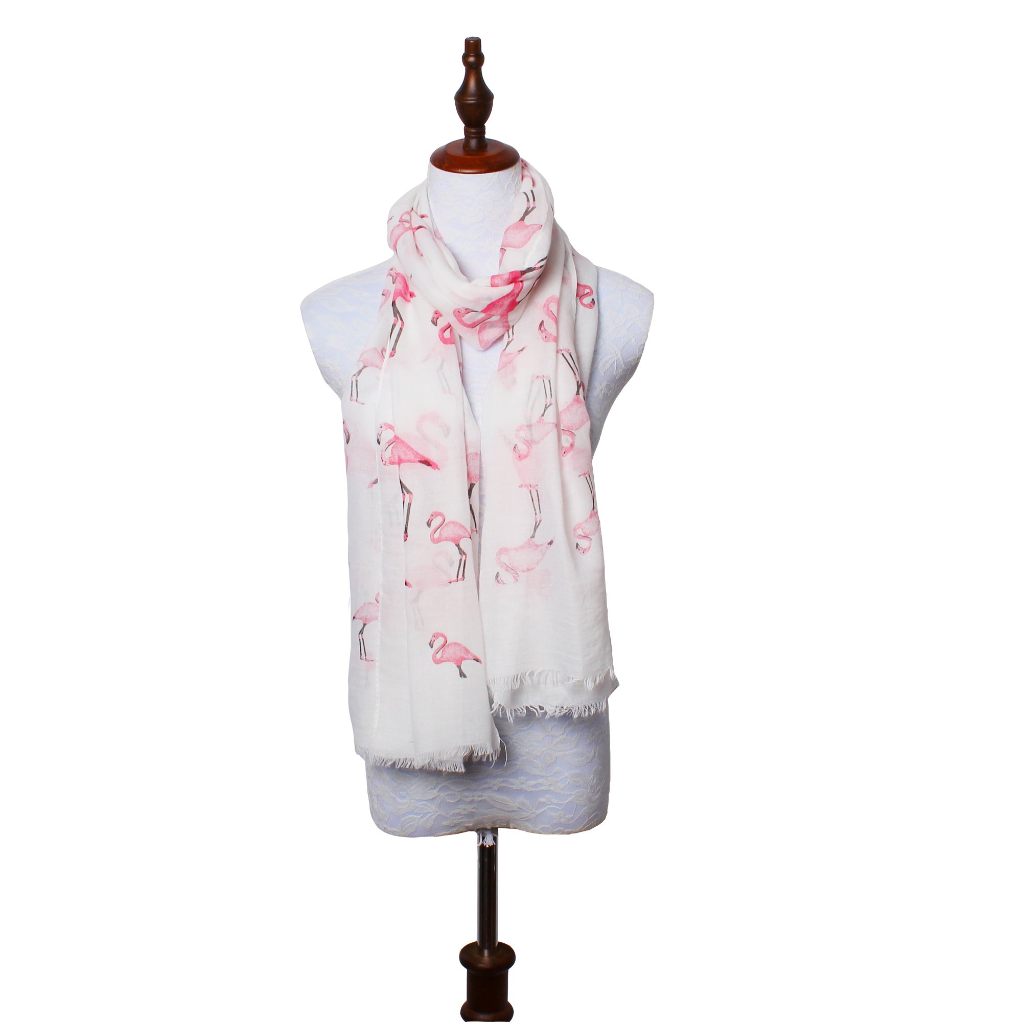 daguanjing 【Colorful Spring Inspired】 Women's Lightweight Fashion Scarf, Floral and Modern Print Sheer Shawl Wrap Flamingo