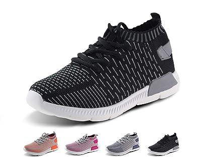 a9ed22774f288d Jabasic Kids Running Shoes Boys Girls Lightweight Breathable Easy Walk Slip  On Knit Sneakers(1