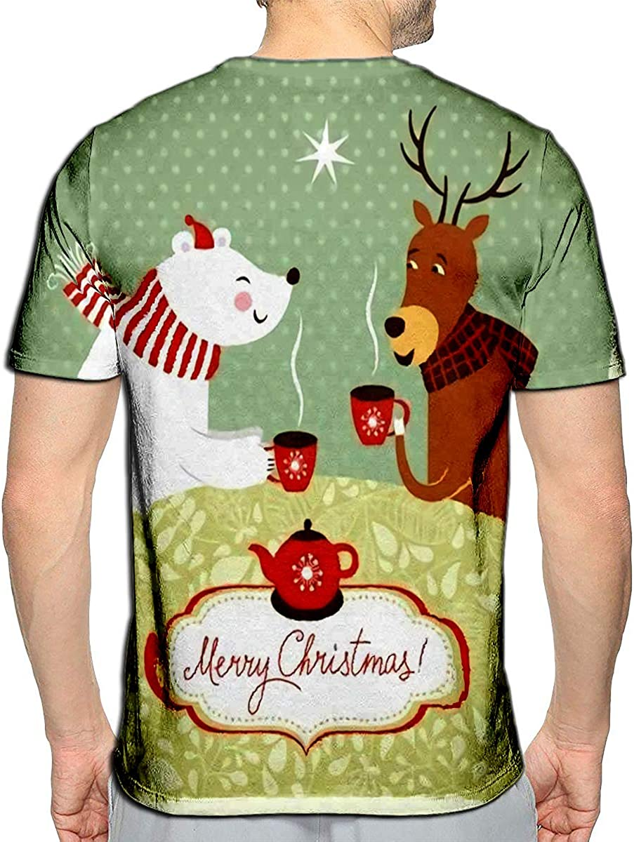 3D Printed T-Shirts Christmas Deer and Bear Drink Hot Tea Short Sleeve Tops Tees