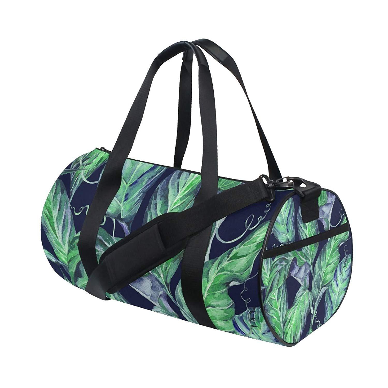 OuLian Gym Duffel Bag Watercolor Green Tropical Leaf Sports Travel Luggage Bags