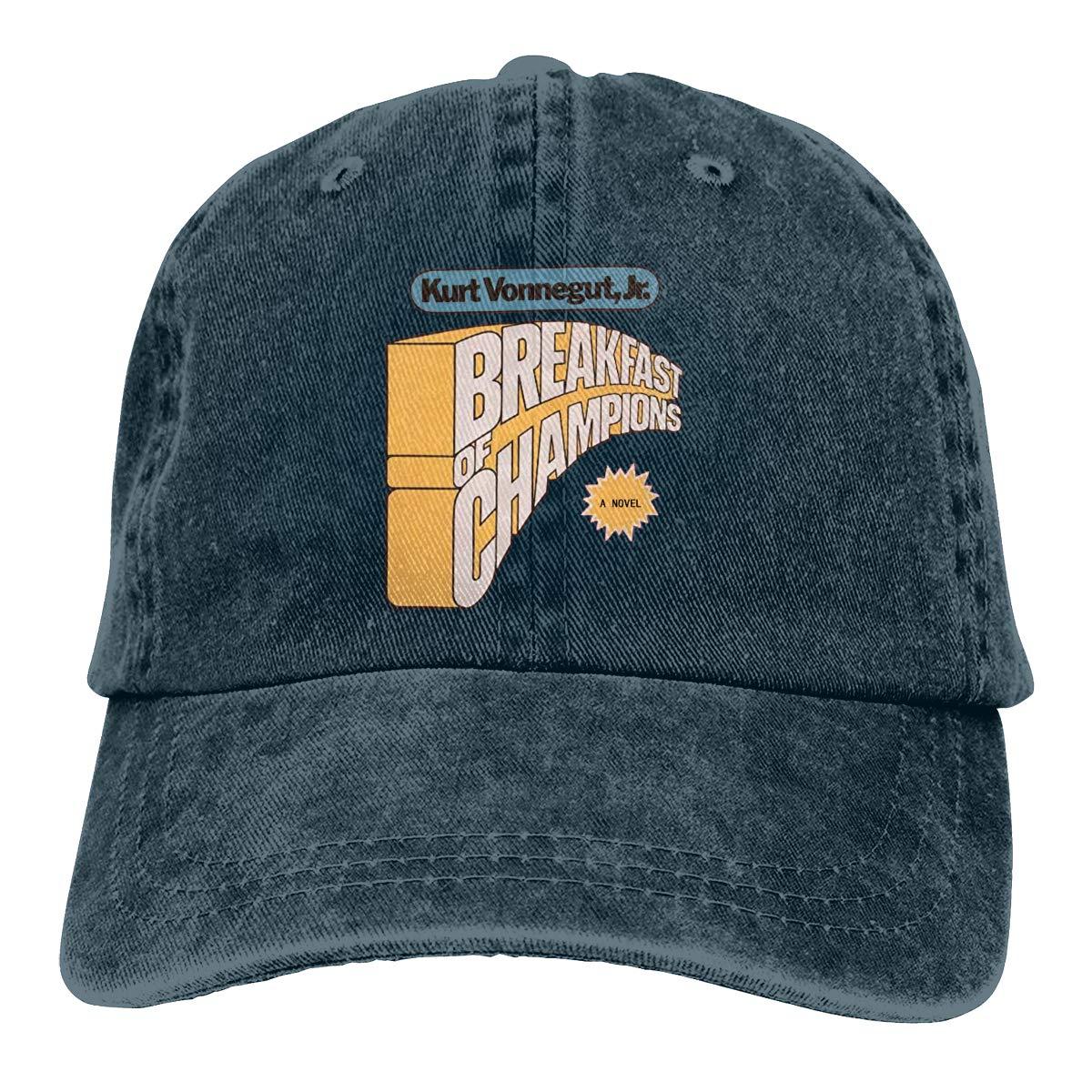 Feeling Unique Breakfast of Champions Vintage Jeans Baseball Cap Classic Cotton Dad Hat Adjustable Plain Cap Black