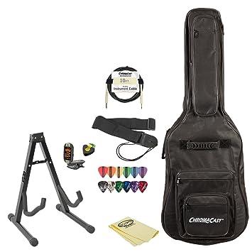 Set de accesorios para guitarra eléctrica (con funda, soporte, correa, cable, DVD, polaco, Pick soporte, sintonizador, gamuza y púas: Amazon.es: ...