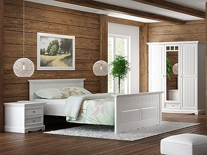 GRANADA Schlafzimmer Set Kiefer massiv creme-weiß 140x200 ...