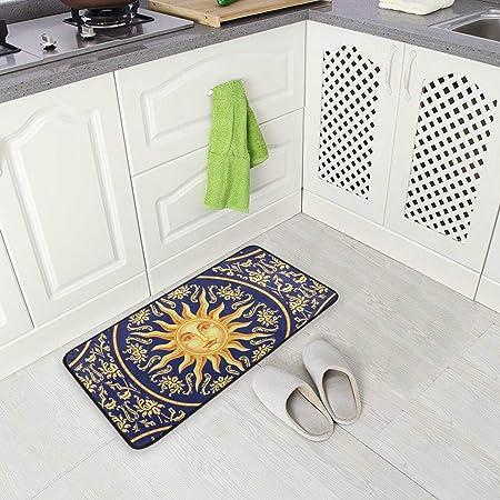 Image ofBLSYP Kitchen Rugs Sun Face Non-Slip Soft Kitchen Mats Bath Rug Runner Doormats Carpet for Home Decor