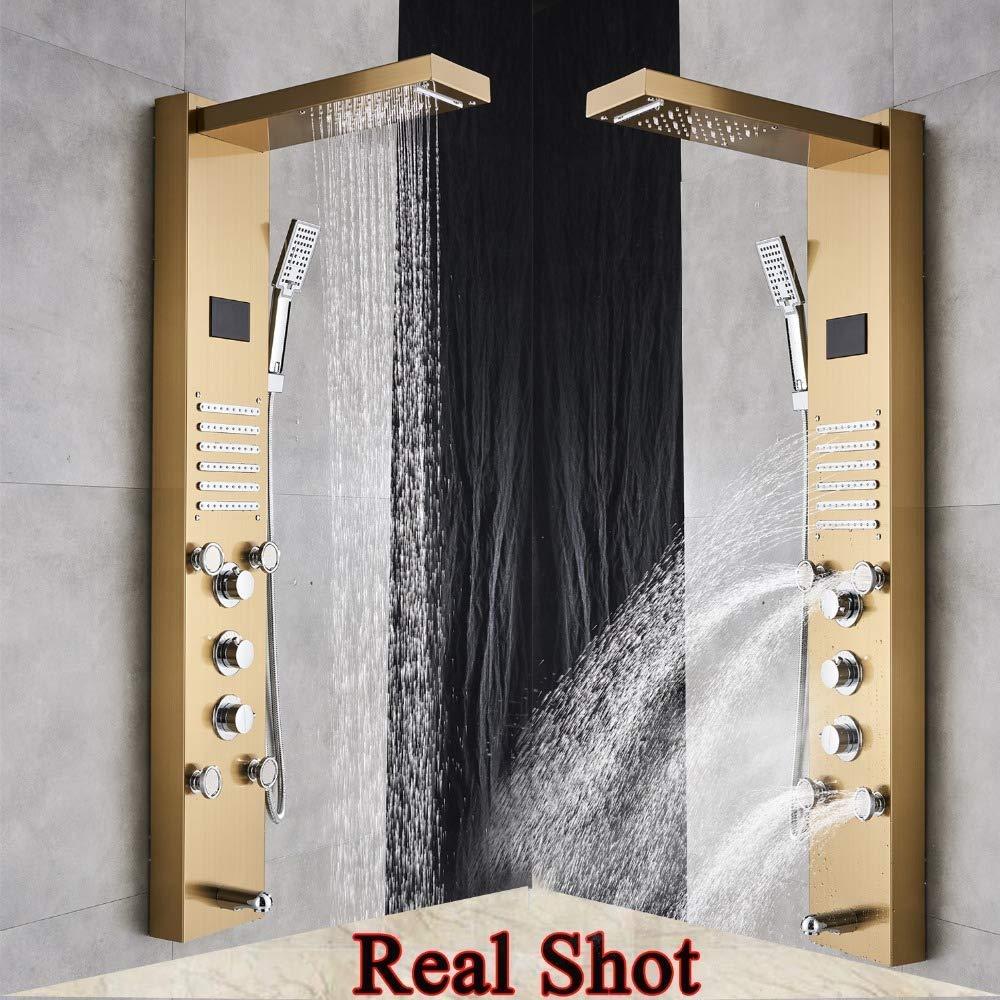 COUYY Columna de Ducha del ba/ño del LED Ducha Panel Golden Waterfall Rain Grifo Digital Screen Temperatura de la Ducha Sistema Mixer conducto de la Tina,Oro
