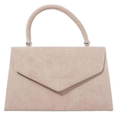 2e413e6e745 Beige Grab Bag, Faux Suede Nude Coloured Evening Bag, Clutch Bag, Small  Envelope Top Handle Handbag, Ladies Light Brown Taupe Bag: Amazon.co.uk:  Shoes & ...