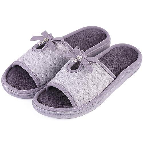 fceff827a4e1 LongBay Women s Memory Foam Slippers Open Toe Cute Bowknot Cozy House  Indoor Outdoor Shoes