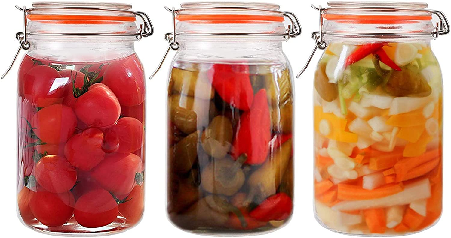 Jucoan 3 Pack Wide Mouth Glass Mason Jar, 50oz Canning Jar with Airtight Hinged Lids and Rubber Gasket, Square Glass Storage Jars Kitchen Canister for Food Storage, Canning, Preserving