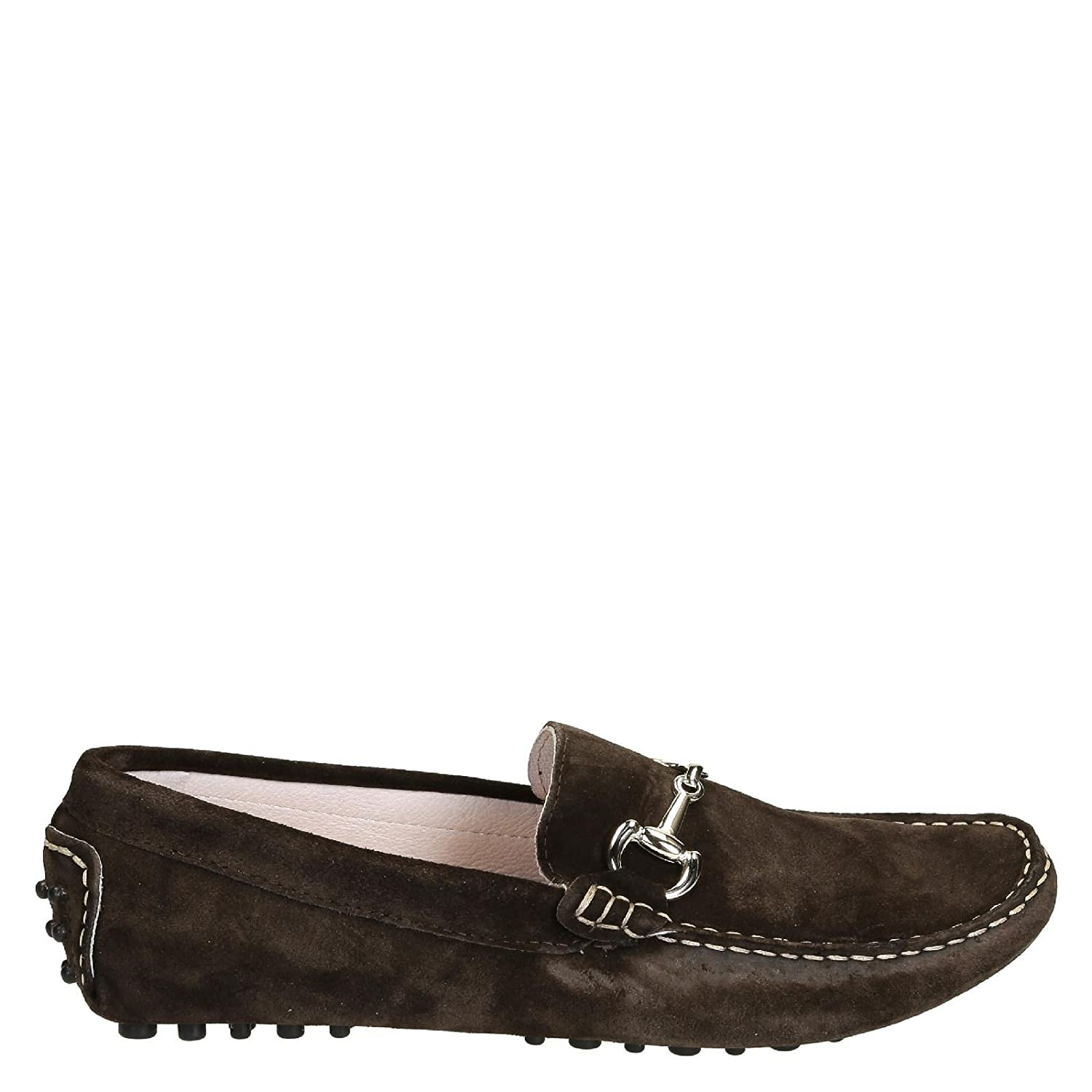 Men's LU4CAMOSCIOTESTADIMORO Brown Suede Loafers