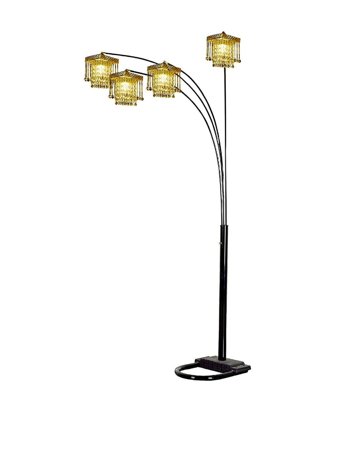 84 Tall Metal Floor Lamp with Black finish and 4 Arch Arms, Crystal Chandelier Design