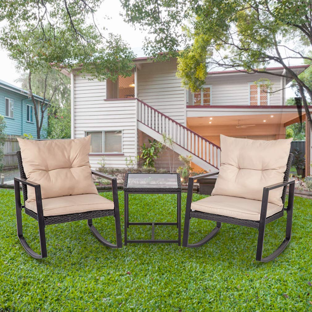 Wicker Patio Furniture Sets 3 Piece Outdoor Bistro Set Rocking Chair Patio Set Rattan Chair Conversation Sets for Backyard Porch Poolside with Coffee Table,Black by FDW (Image #1)