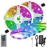 LETTURE Tira LED, 10M 12V Tira de Luces LED 5050 RGB 300 LED Iluminación IP65 Prueba de Agua, Luces LED con Kit con Control R