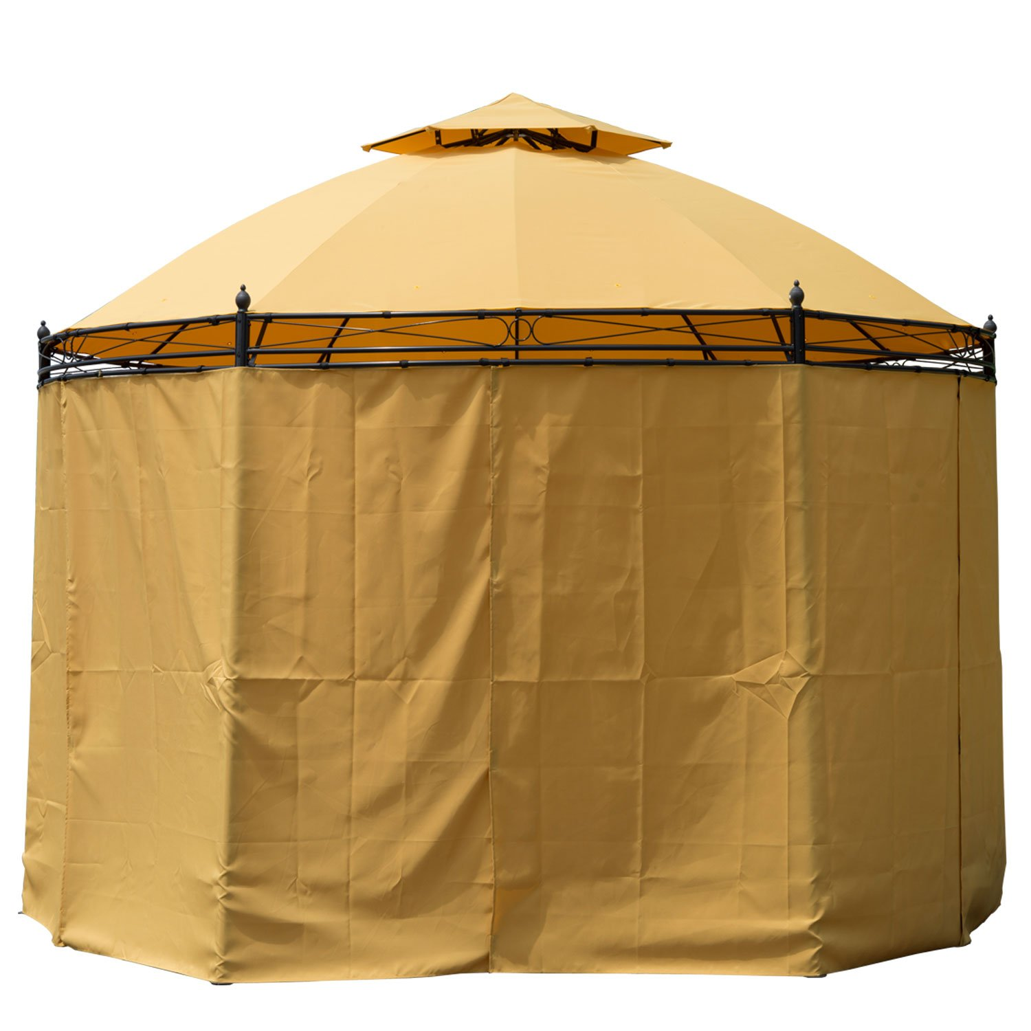 Amazon.com : Outsunny Round Outdoor Patio Canopy Party Gazebo With  Curtains, 11 Feet, Orange : Patio, Lawn U0026 Garden