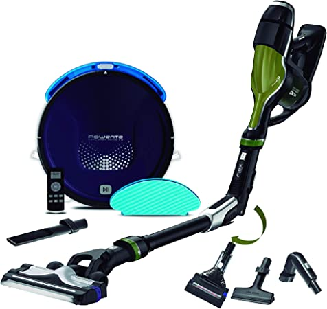 Rowenta Smart Force Explorer Aqua RR6871WH - Robot Aspirador 2 en 1, aspira y friega + Rowenta Air Force 440 RH9202ES Aspiradora de Mano sin Cable con Tubo Flexible: Amazon.es: Hogar
