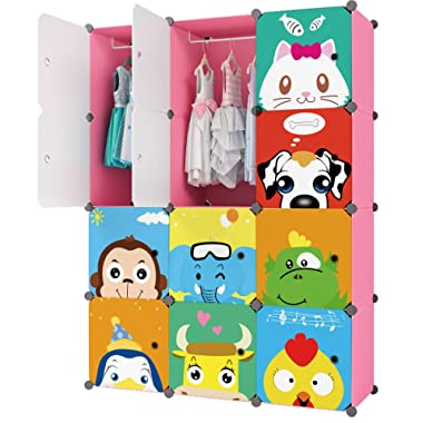 KOUSI Baby Clothes Rack Kid Wardrobe Closet (Pink, 8 Cubes 2 Hanging Sections)