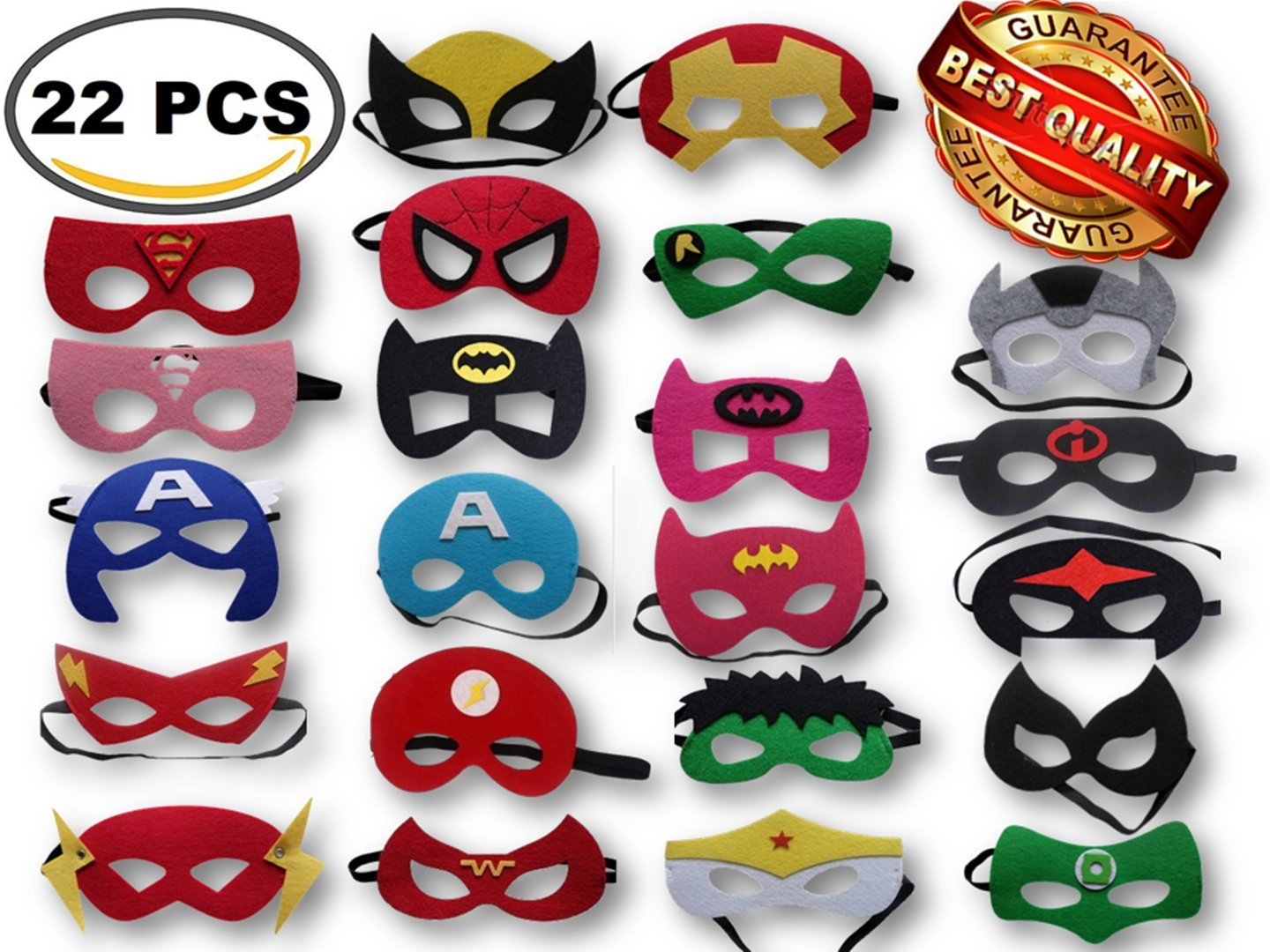 Superhero Party Masks, Multiple Sizes Through ADJUSTABLE Elastic Band, for Kids, Girls and Boys for Birthday Halloween or Avengers Party Supplies to Decoration (22 Pieces) by Gazelle's Goods