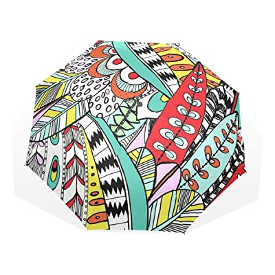 LORVIES Feather Patterns Sun Rain Umbrella Windproof Folding Travel Umbrella