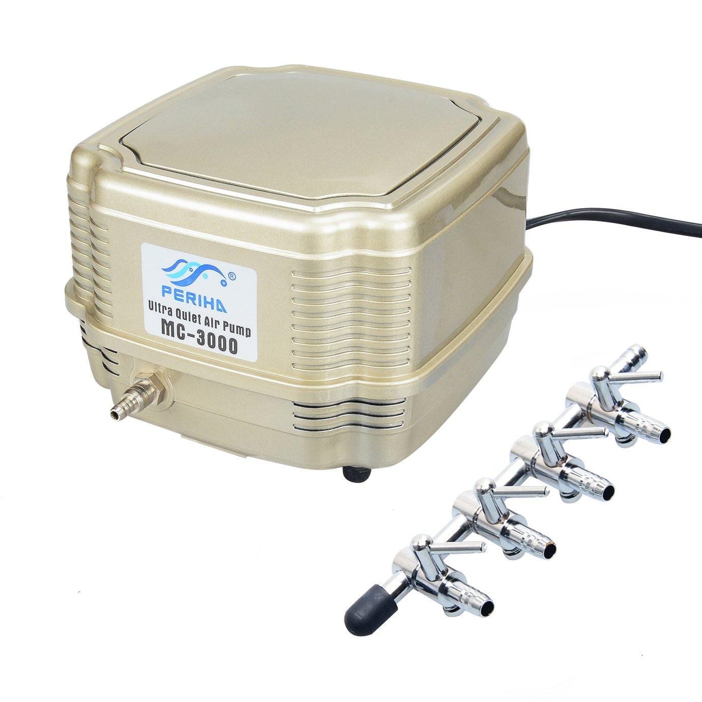 Pawfly Commercial Air Pump MC-3000 Quiet Oxygen Pump for Aquarium Pond, 4 Outlets, 8 W, 16 L/min